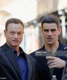 Actors Gary Sinise and Eddie Cahill filming on location for 'CSI: New York' on October 1, 2012 in New York City.