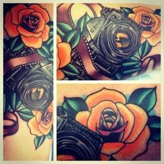 Gorgeous flower and camera tattoo. Like the old-school/new school look. I'm becoming more openminded to color.
