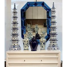 Interior HomeScapes offers the Romano Wall Mirror, Blue by Bungalow Visit our online store to order your Bungalow 5 products today. Blue Master Bedroom, Green Lamp, Making Glass, Bungalow 5, Enchanted Home, Wall Accessories, Chinoiserie Chic, Asian Decor, Blue Mirrors