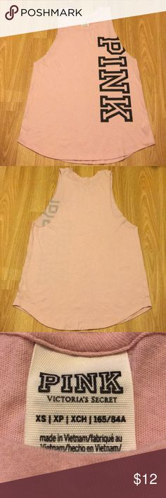 e1e51ae9bef Shop Women s PINK Victoria s Secret Pink Black size XS Muscle Tees at a  discounted price at Poshmark. Description  Light Pink Cut Off Tank PINK  Block Logo ...