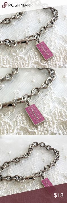 """Coach Pink Hangtag Charm Bracelet 🎀NOTE TO BUYERS... all my items are marked down to lowest price. PLEASE DON'T MAKE OFFERS, MY PRICE IS FIRM. Thank you and have a Wonderful Day!🎀  100% Guaranteed Authentic Coach Pink Hangtag charm on CUSTOM silver with rhodium finish (will not lose shine and resists tarnishing) link 8"""" bracelet with lobster closure clasp. No box.   I can adjust to ANY SIZE needed.... Just ask  Take a peek at my other listings for more treasures... Coach Jewelry Bracelets"""