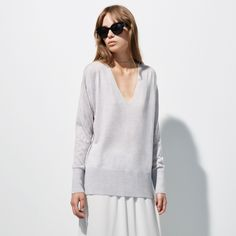 FWSS Coming Home is a superfine and classic merino V-neck knit with rib detailing at edges. Fall Winter Spring Summer, Coming Home, White Sweaters, Tunic Tops, Knitting, Classic, Shopping, Women, Fashion
