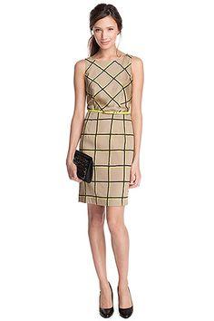 satijnen jurk, ruiten+riem COLLECTION - Esprit Online-Shop