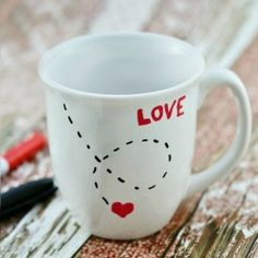 Paint and Bake! It's as easy as that to make this cute LOVE Mug for Valentine's Day!