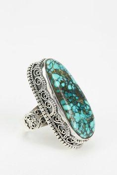 Adorn By Sarah Lewis Large Turquoise Filigree Ring