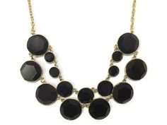 Black Statement Necklace Black Necklace Circle by MidnightGirls