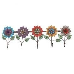 "Metal wall rack with flower-inspired hooks.   Product: Wall hookConstruction Material: MetalColor: MultiFeatures: Five hooksDimensions: 9.75"" H x 30.25"" W x 2"" D"