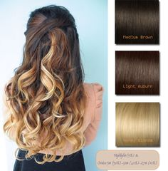 Vpfashion Customized Hair Extensions in 2014 Trendy Hair Colors medium brown light auburn honey blonde three-tone ombre wavy hair styles in half up and half down