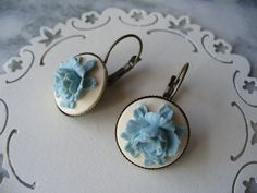Blue Rose and Ivory Cameo Antique Solid Brass by DLAbeaddesign, $11.00