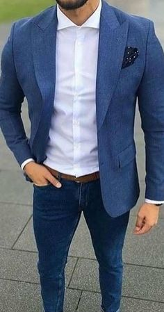 More fashion inspirations for men, menswear and lifestyle @ is part of Mens casual dress - Blazer Outfits Men, Mens Fashion Blazer, Mens Fashion Wear, Stylish Mens Outfits, Fashion Mode, Suit Fashion, Lifestyle Fashion, Blue Blazer Outfit Men, Men Blazer