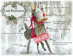 Diy a Twig and Log Christmas Reindeer Bliss-Ranch.com
