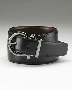 Ferragamo Men's Gunmetal Gancini reversible belt, Bloomingdale's