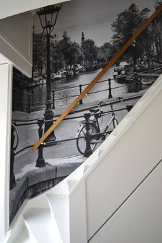 Love a photo mural on a staircase Interior Desing, Interior Inspiration, Hallway Decorating, Interior Decorating, Wall Art Wallpaper, Wallpaper Designs, Photo Mural, Inspirational Wallpapers, Stairway To Heaven