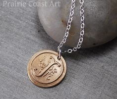 """""""Personalized Wax Seal Initial Necklace in Bronze with Custom Ornate Initial Charm and Sterling Silver Chain""""       PrairieCoastArt      Fine Silver, Copper, Bronze Jewelry, Initial Letters"""