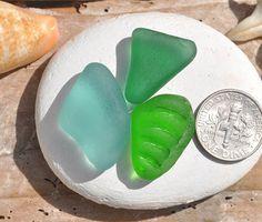 3 Beautiful Ring Sized Sea Glass Pieces by BeachBountySeaGlass