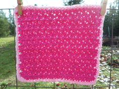 Cranberry with Pink Border Hand Crocheted Wash/Dish Cloth 100% Cotton by NortherNights on Etsy