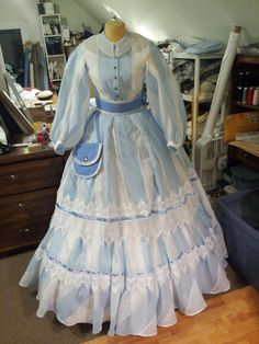 1860's day dress front view with belt and detachable reticule