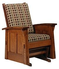 Made to Order Handcrafted Furniture with Your Choice of Hardwoods and Over 50 Finishes - Olde Shaker: Glider Rocker - Buckeye Amish Furniture Outdoor Glider Chair, Glider Rocking Chair, Glider And Ottoman, Amish Rocking Chairs, Bar Stool Chairs, Outdoor Rocking Chairs, Amish Furniture, Furniture Making, Living Room Furniture