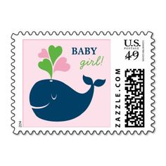 Baby Shower Postage Stamps | Nautical Preppy Whale