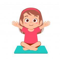Happy Cute Little Kid Girl Practice Yoga Jesus Cartoon, Cartoon Kids, Yoga For Kids, Exercise For Kids, Bullet Journal For Kids, Chico Yoga, Retro Logos, Vintage Logos, Vintage Typography