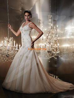 V-neck Summer Sleeveless Wedding Dresses 2014 Wedding Dresses 2014, Elegant Wedding Dress, Wedding Gowns, Our Wedding, Pleated Bodice, Chapel Train, Mi Long, Parka, One Shoulder Wedding Dress