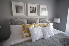 grey and white bedrooms | Nathan Walker's Bedroom Makeover in Gray and Yellow