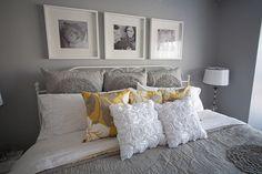 White and yellow bedroom grey navy – decor ideas decoration beautiful Gray Bedroom, Bedroom Colors, Master Bedroom, Bedroom Decor, White Bedrooms, Bedroom Ideas, Comfy Bedroom, Beautiful Bedrooms, New Room