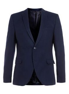 SELECTED HOMME Navy Wool Rich Blazer