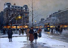 Place Pigalle, Winter Evening by Edouard Leon Cortés (1882-1969) - #painting