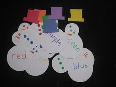 Sight word/color matching with snowmen. This would thrill my daughter!