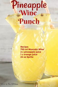 Easy Pineapple Wine Punch is a delicious mixed drink for any occasion. Just 4 ingredients go into this easy wine cocktail! Refreshing Drinks, Summer Drinks, Fun Drinks, Mixed Drinks, Beach Alcoholic Drinks, Cocktails, Cocktail Recipes, Cocktail Drinks, Pineapple Lemonade