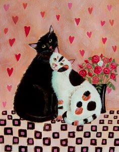 Cats Painting - Valentines Cats by Mary Stubberfield