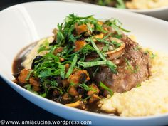 knuckles of veal, polenta, black chanterelles
