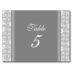 Wedding Table Number Cards Gray Damask Postcards