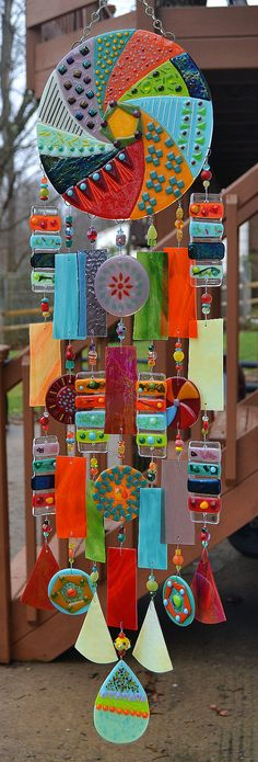Special Order for Donna - Kirks Glass Art Fused Stained Glass Wind Chime… Fused Glass Art, Stained Glass, Mobiles, Glass Wind Chimes, Mosaic Crafts, Paperclay, Easter Wreaths, Artisanal, Garden Art