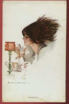 "Harrison Fisher postcard of a glamorous woman in a delicious hat titled ""Chocolate"" postmarked 1916"