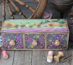 """Купить """"Лето в Провансе"""" короб - лаванда, лавандовый, сиреневый, фиолетовый, вереск, короб для хранения, короб"""