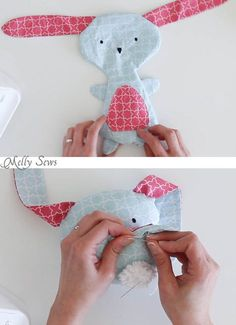 Step 6 - Sew a Bunny - DIY Easter Bunny Tutorial - Free Pattern to sew this cute bunny - would make a great baby gift! - Melly Sews