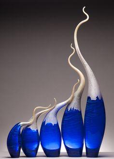 Adrift on Deep Water - Rick Eggert Wooden Hammock Stand, Glass Artwork, Tiffany Glass, Glass Ornaments, Flower Vases, Home Art, Sculpture Art, Stained Glass, Perfume Bottles