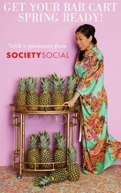 Society Social giveaway, cocktail party props, printemps pineapple bar cart, Roxy Owens, 1970s caftan @Erika Brechtel small shop @RoxyTeOwens // SocietySocial #printempsparty