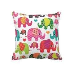 Cute retro elephant pattern india design pillow by designalicious