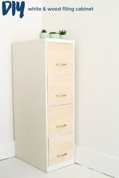 white u0026 wood filing cabinet makeover