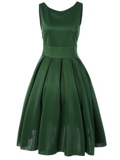 Vintage Sweetheart Neck Tank Dress in Green | Sammydress.com