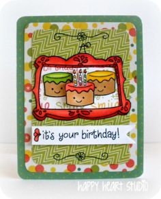 Happy Heart Studio: Wishing Lawn Fawn a Happy Birthday with Stamp Fever_ Year Three, Fanciful Frames, Bake Me a Cake; Pink Lemonade paper