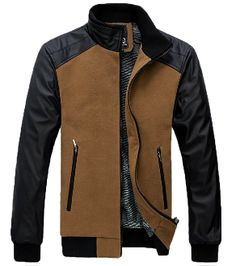 Men's PU Leather Sleeves and Inner Fur Jacket