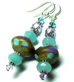 Organic Earrings Lampwork Earrings Handmade by SeeMyJewelry