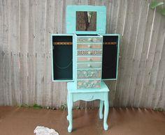 Hand painted Beautiful X Large Grayish Blue Wooden Jewelry Box