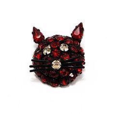 Vintage Red Rhinestone Warner Cat Brooch by VintageMeetModern Antique Brooches, Cat Pin, Cat Jewelry, Red Rhinestone, Metal Finishes, Brooch Pin, Vintage Antiques, Stud Earrings, Jewels