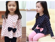 >> Click to Buy << Free Shipping Spring Autumn  Girls Clothes Sets Outfits Bow/ bowknot  Dot Long Sleeve+ Pants  Suit   Clothing Sets #Affiliate