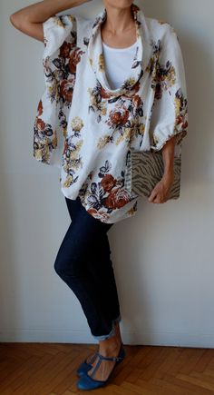 Fall colours floral loose fit linen smock frock / by MuguetMilan